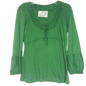Deletta Anthropologie Green Long-Sleeve Top Small